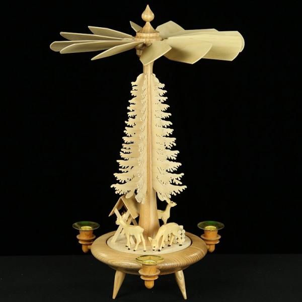 Holzkunst Niederle - Tischpyramide mit geschnitzte Rehe