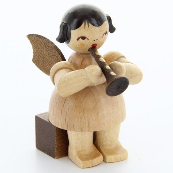 Uhlig Engel sitzend mit Flöte, natur, handbemalt