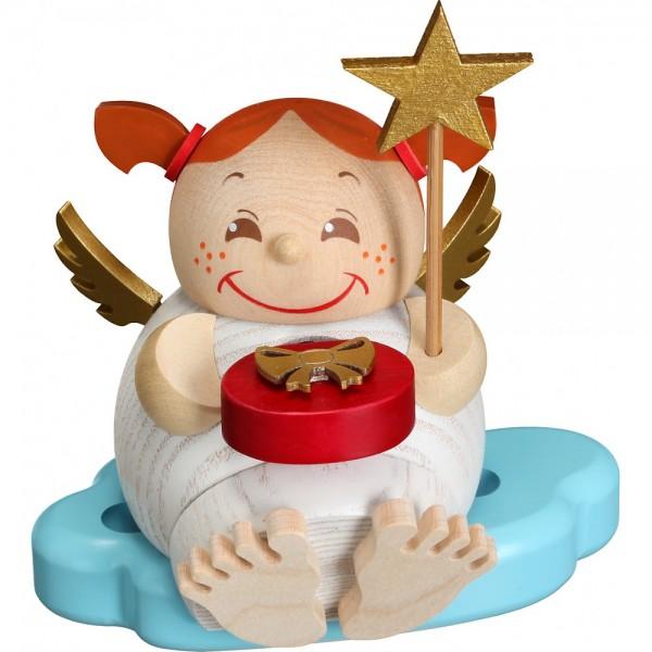 Seiffener Volkskunst Neuheit - Kugelräucherfigur Engel mit Weihnachtsgeschenk