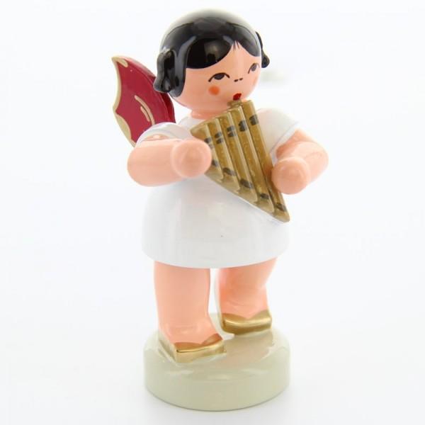 Uhlig Engel stehend mit Panflöte, rote Flügel, handbemalt