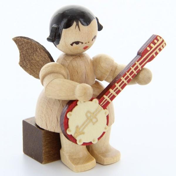 Uhlig Engel sitzend mit Banjo, natur, handbemalt