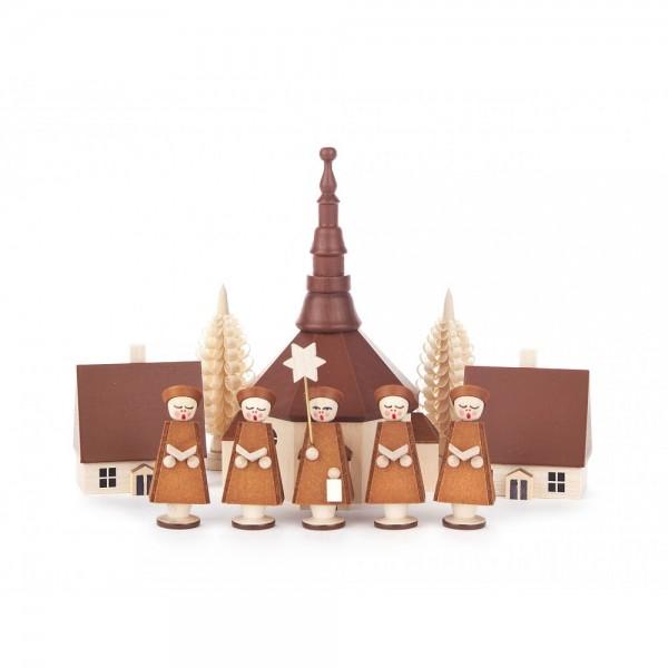 Dregeno Erzgebirge - Kurrende braun, mit Kirche, Häuser und Bäumchen