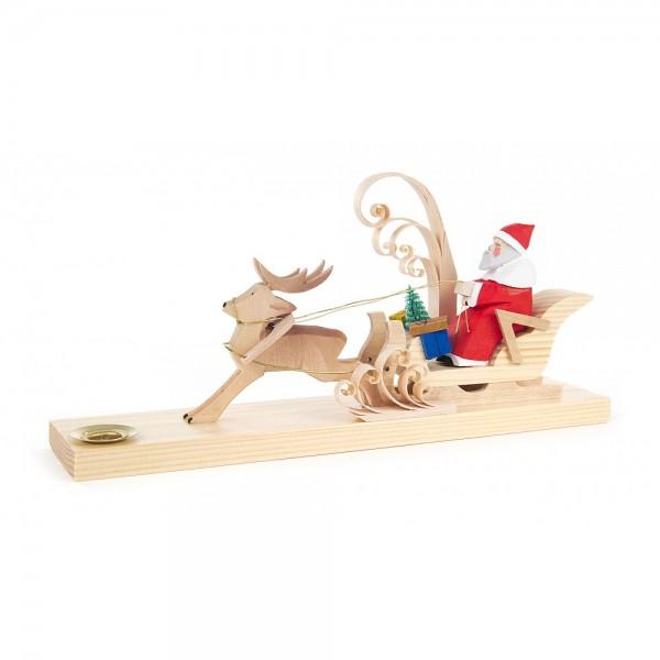 Dregeno Erzgebirge - Schnitzerei mit Lichtertülle - Weihnachtsmann mit Rentierschlitten - 11cm
