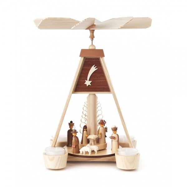 Dregeno Erzgebirge - Pyramide Christi Geburt, Figuren natur, für Teelichter - 31cm