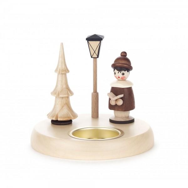 Dregeno Erzgebirge - Teelichthalter mit Kurrendefigur natur - 10cm