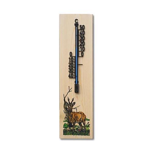 Wandthermometer aus Holz XL - Motiv Rehbock