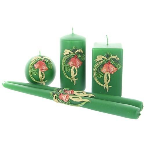 Weihnachtskerze Grün - Kerzenset mit Glocke - 5-teilig