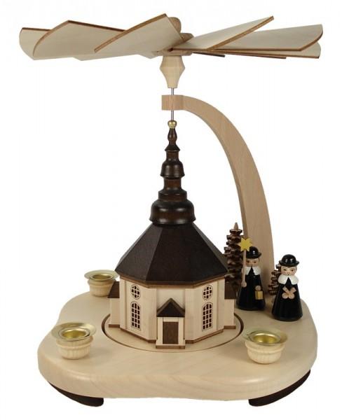 Lenk & Sohn Pyramide Erzgebirge 3-flammig Seiffener Kirche, Figuren farbig