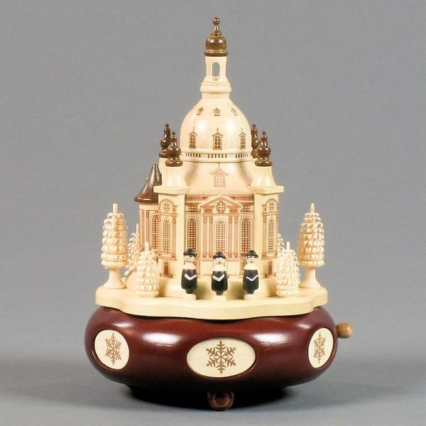 Dregeno Erzgebirge - Spieldose mit Dresdner Frauenkirche und Kurrende, 18-stimmiges Spielwerk