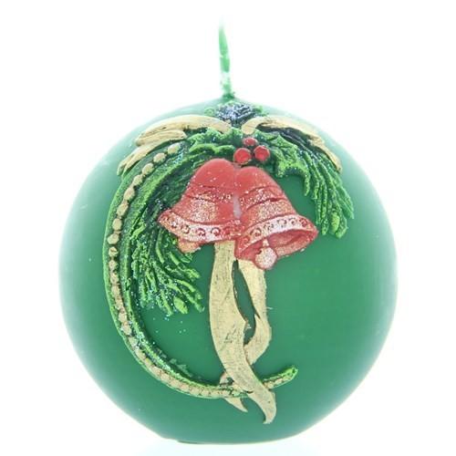 Weihnachtskerze Grün - Kugel mit Glocke - 7cm