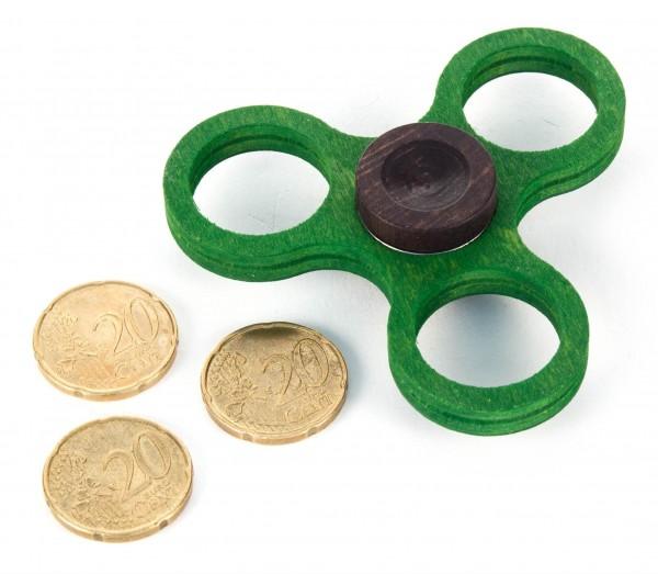 Dregeno Erzgebirge - Holz-Hand-Kreisel klein, grün (für 20-Cent-Münzen)