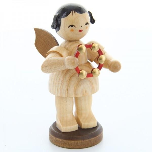Uhlig Engel groß stehend mit Schellenring, natur, handbemalt