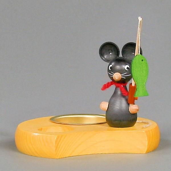 Dregeno Erzgebirge - Teelichthalter Maus mit Angel - 10cm