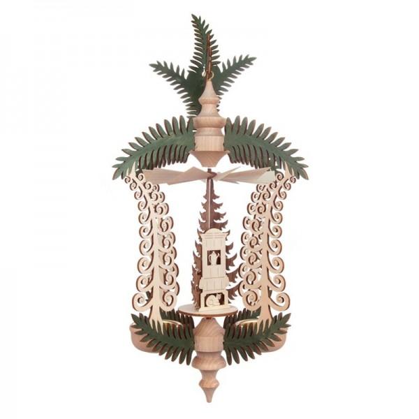 Dregeno Erzgebirge - Hängepyramide mit Zweig, Erzgebirgsstube, für Teelichter