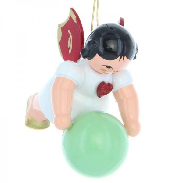Uhlig Herzengel schwebend mit Gymnastikball, rote Flügel, handbemalt