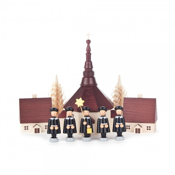 Dregeno Erzgebirge - Kurrende mit Seiffener Kirche und Spanbäumchen, klein