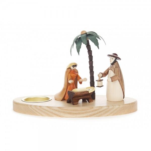 Dregeno Erzgebirge - Teelichthalter mit Christi Geburt, farbig - 12cm