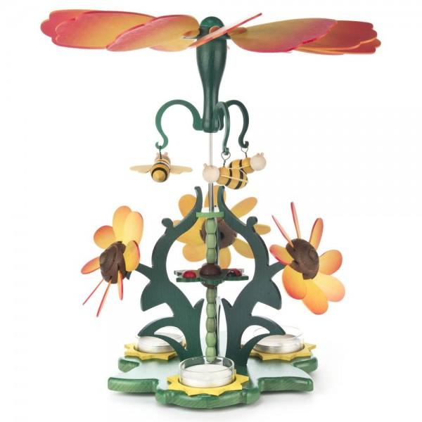 Dregeno Erzgebirge - Pyramide Blütenzauber, orange, für Teelichter