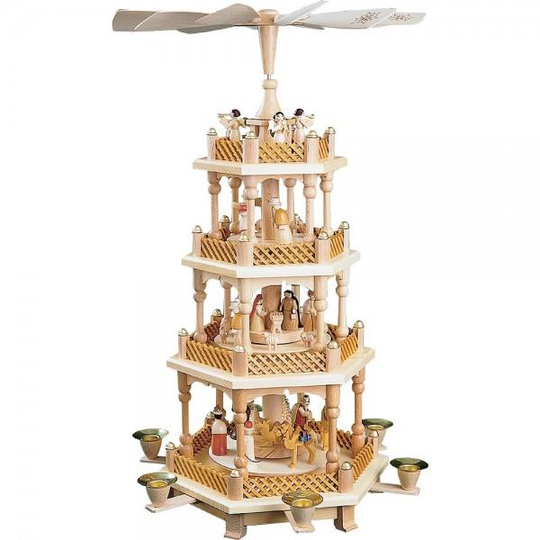 Richard Glässer Erzgebirgspyramide Christi Geburt 3-stöckig natur- 54cm
