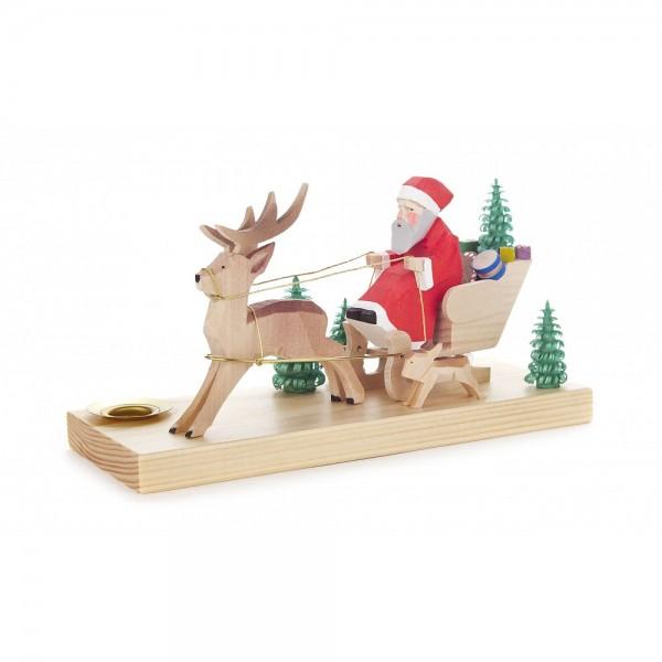 Dregeno Erzgebirge - Kleiner Hirschschlitten mit Weihnachtsmann und Häschen, geschnitzt
