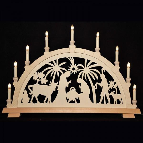 Holzkunst Niederle - Großer Schwibbogen mit geschnitzten Bogen - Motiv Christi Geburt