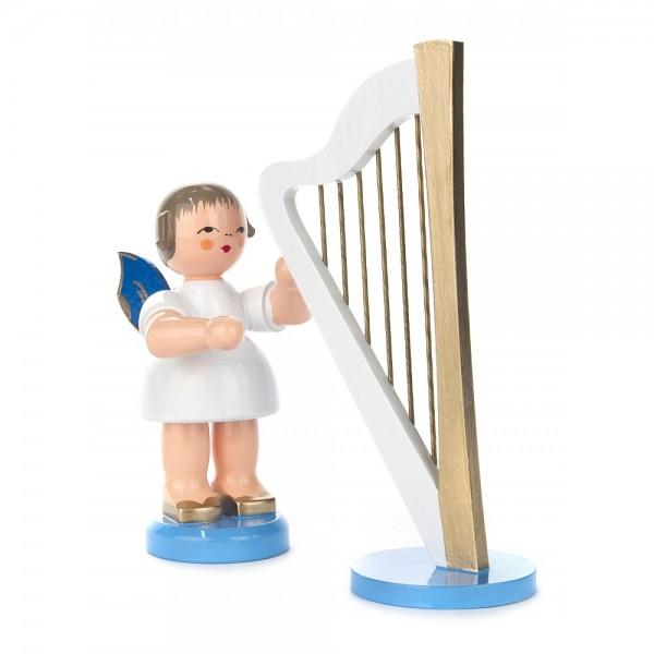 Dregeno Erzgebirge - Engel groß stehend mit Harfe, blaue Flügel