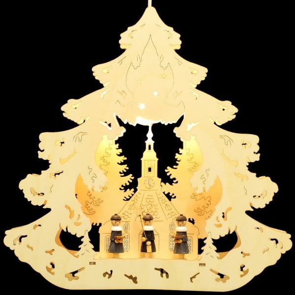 HELA Holzkunst - Fensterbild Baum Seiffen mit Kurrendefiguren