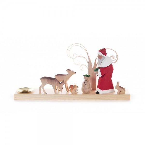 Dregeno Erzgebirge - Schnitzerei - Weihnachtsmann mit Tiere des Waldes - 11,5cm