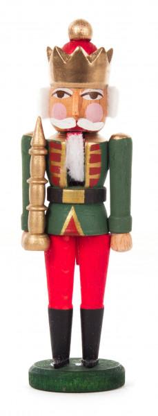 Dregeno Erzgebirge - Mini-Nussknacker König grün-rot, 8cm