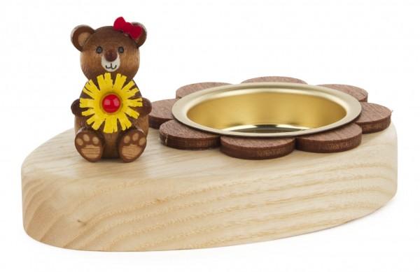 Dregeno Erzgebirge - Teelichthalter Teddy mit Blume