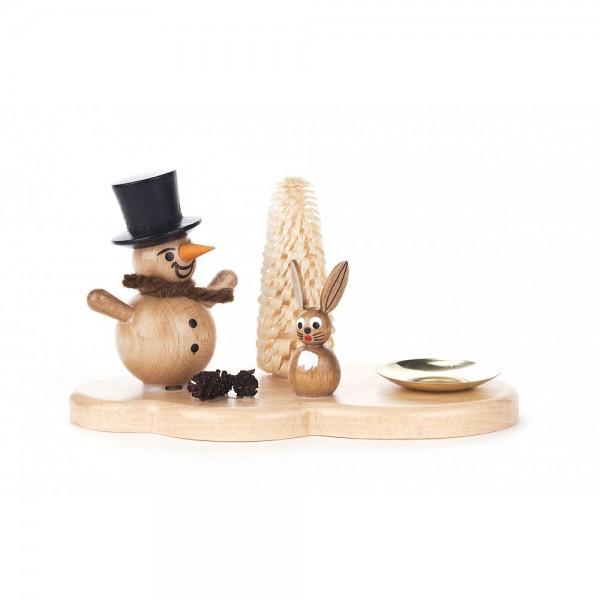 Dregeno Erzgebirge - Kerzenhalter mit Schneemann und Hase natur - 10cm