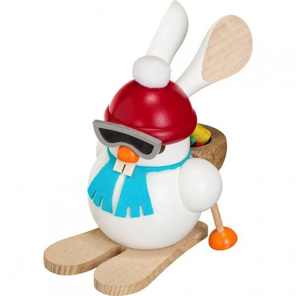 Seiffener Volkskunst Kugelräucherfigur Ski-Hase