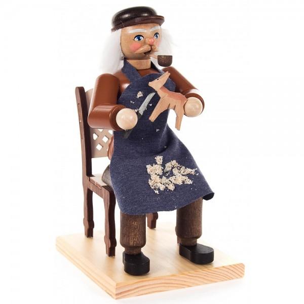 Dregeno Erzgebirge - Räuchermann Lothar beim Schnitzen