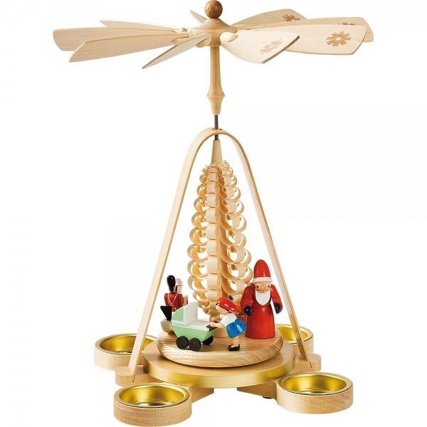 Richard Glässer Erzgebirgspyramide Bescherung für Teelichte 28cm