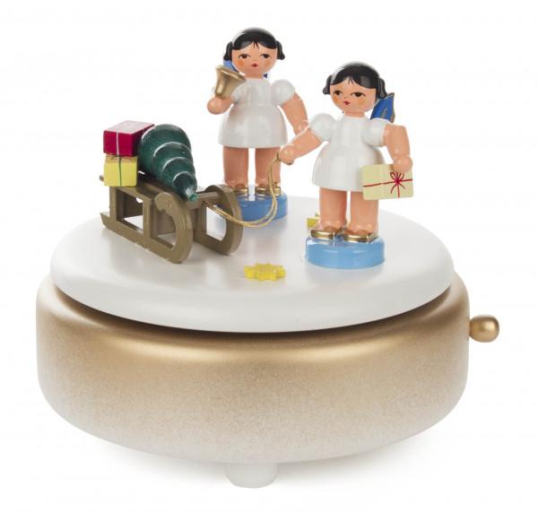 Dregeno Erzgebirge - Spieldose weiß/gold mit zwei Engeln und Geschenkeschlitten, Melodie »Leise rieselt der Schnee«