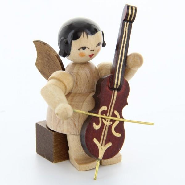 Uhlig Engel sitzend mit Cello, natur, handbemalt