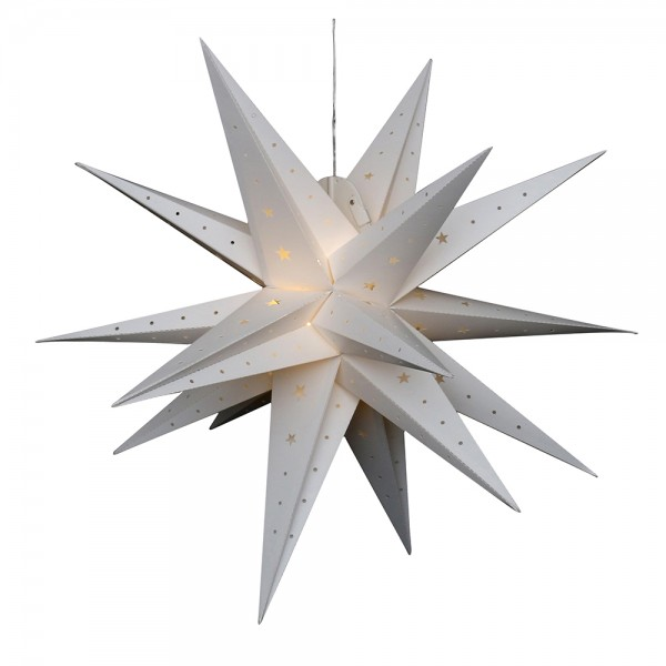 Restposten - Kunststoff Falkensteiner Adventsstern 18 Spitzen zum Aufklappen, weiß 80 x 80 x 80 cm inkl. Adapter 4,5 V, LED, wetterfest/für außen geei