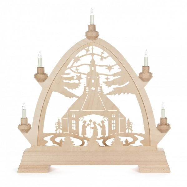 Dregeno Erzgebirge - Gotischer Bogen mit Seiffener Kirche - elektrisch beleuchtet
