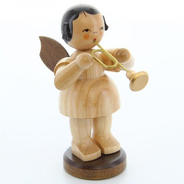 Uhlig Engel groß stehend mit Trompete, natur, handbemalt