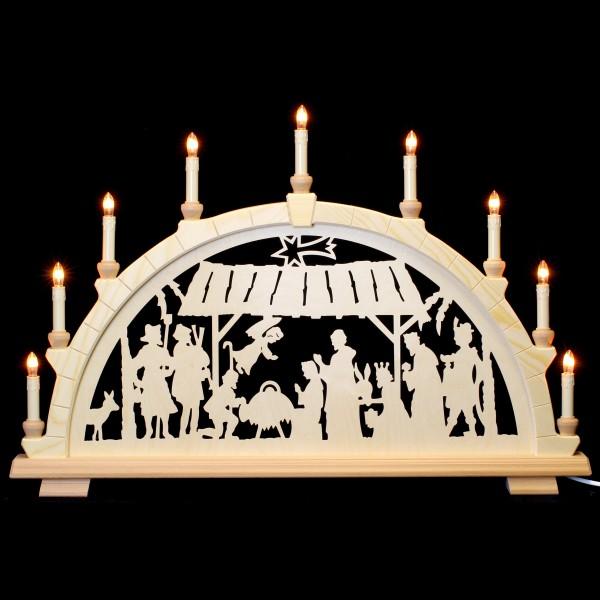 Holzkunst Niederle - Schwibbogen 9-flammig - christl. mit Stall o. Bäume