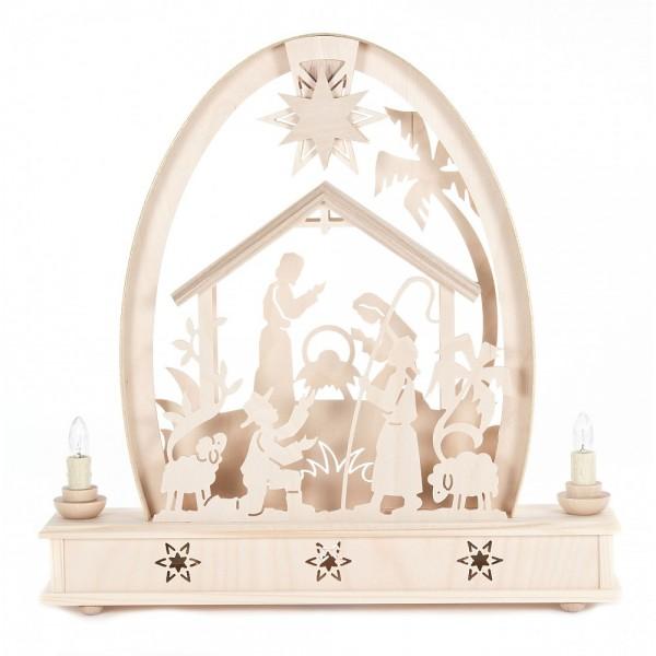 Dregeno Erzgebirge - Erzgebirgsbogen mit Christi Geburt - 37cm