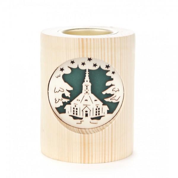 Dregeno Erzgebirge - Teelichthalter 10cm natur - Motiv Seiffener Kirche und Glocken