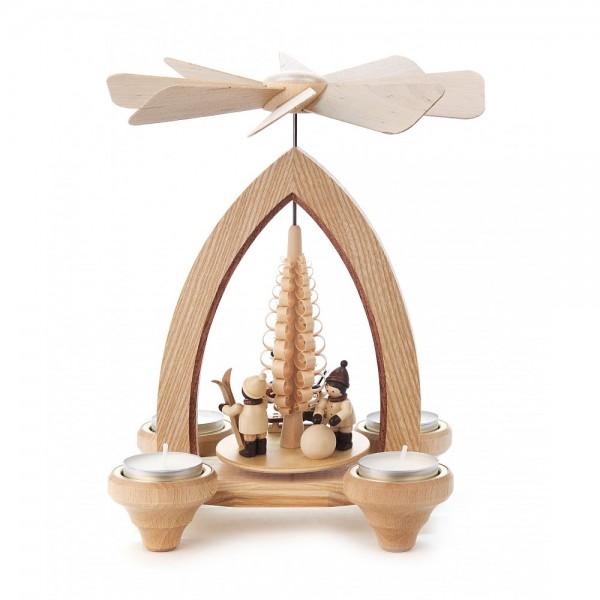 Dregeno Erzgebirge - Pyramide klein mit Weihnachtmann und Kinder, für Teelichter - 24cm