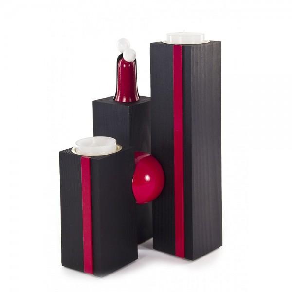 Dregeno Erzgebirge - Kugelleuchter Modern Line mit Figur, schwarz/bordeaux, für Teelichter - 21cm