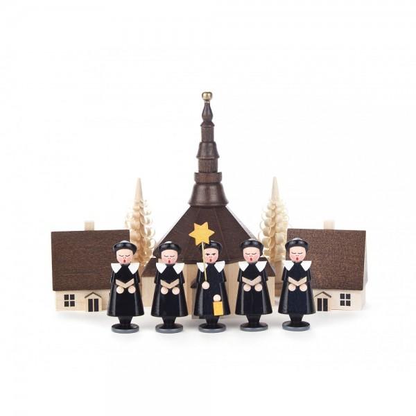 Dregeno Erzgebirge - Kurrende schwarz, mit Kirche, Häuser und Spanbäumchen