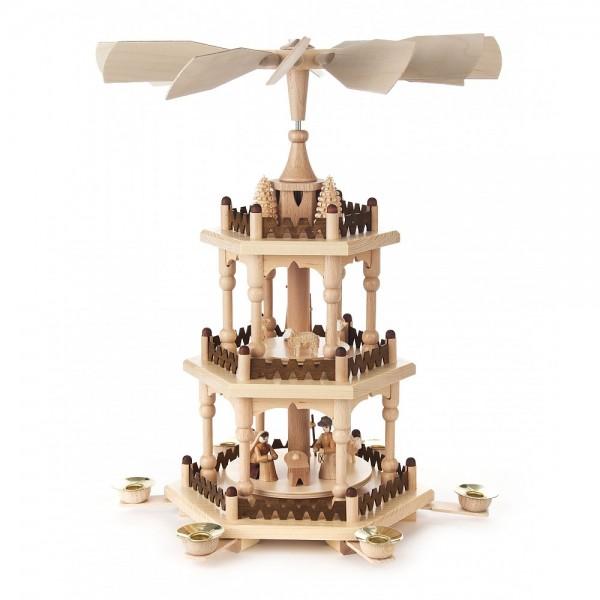 Dregeno Erzgebirge - Pyramide 3-stöckig mit Christi Geburt und Bäumchen - 41cm
