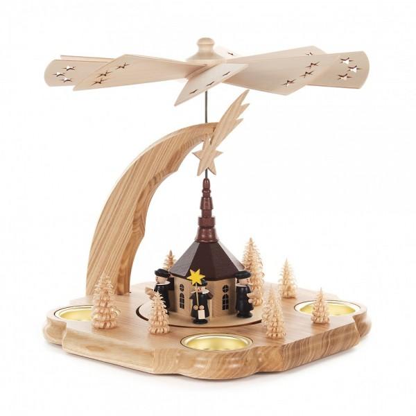 Dregeno Erzgebirge - Pyramide klein mit Seiffener Kirche, für Kerzen und Teelichter - 24cm