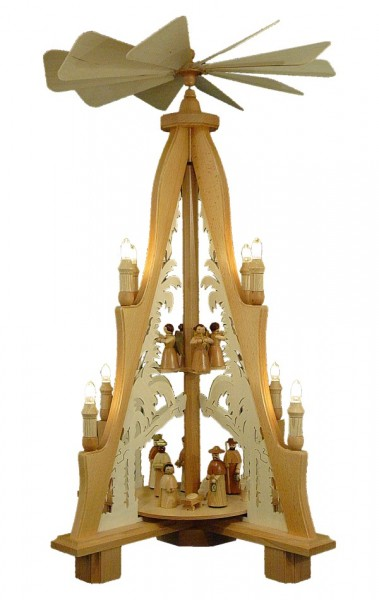Lenk & Sohn Pyramide Erzgebirge elektrisch 8-flammig Krippefiguren