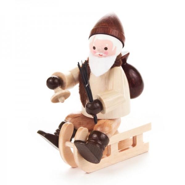Dregeno Erzgebirge - Miniatur-Nikolaus auf Schlitten, natur