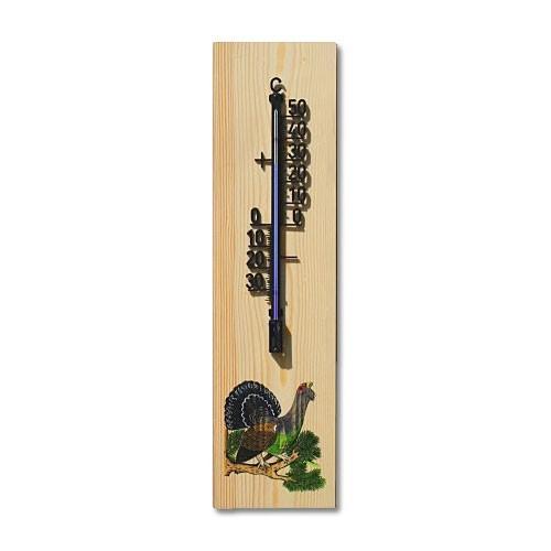 Wandthermometer aus Holz XXL - Motiv Auerhahn